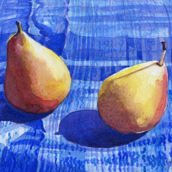 Pears on Blue
